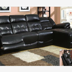 Black Leather Reclining Sectional Sofa Recliner Chaise Adjustable Back - Versatility is the major selling point of this sectional. With a built-in chaise in one end and a detachable chair on the other, multiple setting are possible with this plush, contemporary piece.