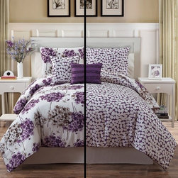 Bed In A Bag - 5pc Luxury Carolina Purple/ Ivory Reversible Comforter Set - Spring into style with this beautiful five piece floral reversible comforter set. The comforter, shams and decorative pillows coordinate perfectly and give your room the perfect pop of color.  Machine Washable/ 100% Polyester