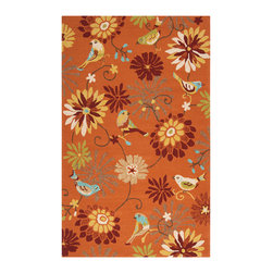 Surya - Surya Rain Orange Rectangle Area Rug - Surya Rain Orange Rectangle Area RugBeautiful decor shouldn't stop at the front door. Show off your style indoors and outside with Surya's Rain Orange Rectangle Area Rug. Manufactured to withstand the elements, this all-weather area rug is made from durable, handhooked polypropylene. Just hose it off to keep it looking fresh in any season. The charming flower-and-bird motif looks lively on a background of bright orange, making this floor covering the perfect way to set a playful mood in your outdoor space. Go for great design, rain or shine, with this indoor-outdoor stunner from Surya.100% handhooked polypropyleneMedium pileSafe for outdoor useAvailable in four sizesMade in China