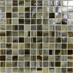"Glass Tile Oasis - Dark Oak 1"" x 1"" Brown Pool Glossy & Iridescent Glass - Sheet size:  1.11 Sq. Ft.   Tile Size:  1"" x 1""   Tiles per sheet:  144    Tile thickness:  1/4""   Grout Joints:  1/8""   Recycled Components:  70%   Sheet Mount: Paper Face     Sold by the sheet    - This collection is evocative of the glass-like natural layered silica created by volcanic stone formations. With a nod to old world Venetian glassmakers  our mosaics are created using the same processes from molten silica; hand-poured  blending transparent and opaque colors and natural and opalescent finishes into a unique  luxurious glass designed to please the most discriminating eye. It is available in 14 dramatic color blends and two finishes  Glossy & Frosted. Each piece is hand-poured and unique  designed with a certain amount of variation and variegation of color  tone  texture and shade for a distinctive appearance. Our hand-made process incorporates creases  wrinkles  waves  bubbles and other surface effects indicative of hand-made glass  all designed to capture light and enhance the final beauty of the project."
