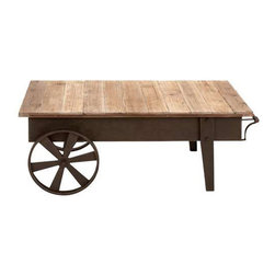 Reclaimed Wood Wagon Wheel Coffee Table - Now here is some real country flair. Fashioned from striking reclaimed wood and aged iron, this rustic-modern coffee table is a statement piece that will transform your room from merely sporting a rustic look to embodying an honest modern farmhouse feel.