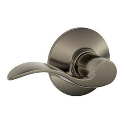 "Schlage Lock - Accent Passage Lever Pewter - For residential single and multi-family hall/closet doors. Both knobs always unlocked. Zinc based and plated, solid lever designing. 3 piece assembly. Triple Option Universal fits all doors; 2-3/4"" or 2-3/8"" backset; square corner, round corner, or drive-  in preps. All latchsets have the same finish for both interior and exterior parts.      VISUAL PACK - RETAIL - UNIVERSALLY HANDED  Dual Option Universal Springlatch  Finish=Antique Pewter"