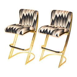 Brass Bar Stools by Design Institute America - Dimensions 19.0ʺW × 23.0ʺD × 40.0ʺH
