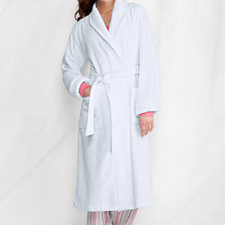 Women's Lightweight Calf-length Terry Robe, White - A luxurious robe is an absolute must for any day at the spa, or even at home!