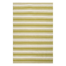 Jaipur Rugs - Jaipur Rugs Indoor-Outdoor Easy Care Polyester Green/Ivory Area Rug, 3.5 x 5.5ft - Bring the comfort of inside, outside, with these reversible woven rugs. Stripes can coordinate and can be used in multiple areas of the home or patio.