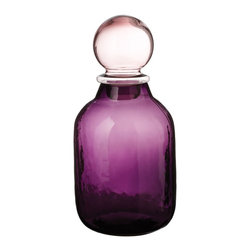 Lazy Susan - Lazy Susan 464026 Wildflower Glinda Bubble Bottle - Small - Take home something from the Land of Oz with this tall glass bottle and stopper. Named for the Good Witch of the South, the deep amethyst color would be a great addition to your decor.
