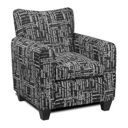 Chelsea Home - Contemporary Pamela Chair - Polyester blend upholstery in trilogy black. Dacron wrapped 1.8 density foam cushion. Seating comfort: Medium. Leggett and platt sinuous spring system. Made from hardwood, softwood and engineered wood. Made in USA. No assembly required. 31 in. W x 32 in. D x 38 in. H (65 lbs.)