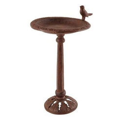 Esschert Design - Birdbath on Stand - From Esschert Design this cast iron birdbath in antique bronze finish creates a welcome resting spot for birds in your backyard with its raised leaf patterned rim and fun bird sculpture. The 0.5 deep basin allows small birds to bathe and the 1 wide lip offers plenty of perching area. Its faceted pedestal and leaf-patterned base support the bowl easily. The bowl unscrews from the pedestal for easy refilling and cleaning. Place on a level surface. Basin diameter: 6.75. 16H. This item cannot be shipped to APO/FPO addresses. Please accept our apologies.
