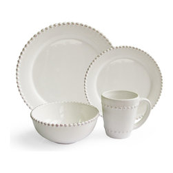 Jay Import Co - Bianca Bead Round 16 Piece Dinnerware Set - If you like to keep it simple at the table, this dinnerware set (16 pieces, a full service for four) in clean, classic white fills the bill. But note how the beaded border adds just the right design touch to tastefully frame your meals.