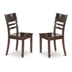 "East West Furniture - Lynfield Dining Chair with Wood Seat in Cappuccino Finish - Set of 2 - Lynfield Dining Chair with Wood Seat in Cappuccino Finish; Features an Cappuccino finish that complements a variety of decorative themes.; The smooth finish of The Lynfield dining set subtly reflects light to brighten The room and showcase the table, chairs and bench.; Regency-style chairs with curved lines offer comfortable support for the back and allow for decorative cushions to accent the Lynfield dining room set.; Weight: 36 lbs; Dimensions: 18""L x 18""W x 37""H"
