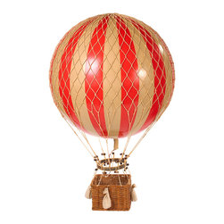 Jules Verne Balloon, Red - Iconic and inspiring helium filled balloons were one of aviation's first successes. Since 1783, balloons have traveled the skies. Our largest model to date comes complete with a rattan basket hanging from hand-knotted netting and wood toggles. The large balloon carries sand bags at the ready for release as ballast.