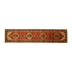 Manhattan Rugs - Free-Pad New Heriz Lava Veg Dyed Knotted By Hand 3'x12' Serapi Persian Oriental - Heriz is situated in the northwestern part of Iran (Persia).  Though the term covers Hand knotted rugs of numerous small villages in the area, the most beautiful Rugs were woven in Heriz itself For the last 100 years, the Heriz carpet designs have basically remained the same, with only small variations in color pallets and density of the design. The late 19th Century Rug (so called Serapis) was of fewer details and softer colors and with time designs became denser with added jewel tone color pallets. The revival of the carpet industry in the late 19th Century was based on the demand of the Western markets, with America in particular. Weavers in Heriz hand knotted were asked to make carpets inspired by the Fereghan Sarouks of higher cost for consumers of more limited budgets. Even though Sarouk carpets changed style later on, Heriz weavers stayed with the geometric pattern till now.  However, Heriz was also a center of production of some of the best handmade carpets with both geometric and curvilinear floral patterns.  A special heirloom wash produces the subtle color variations that give rugs their distinctive antique look.