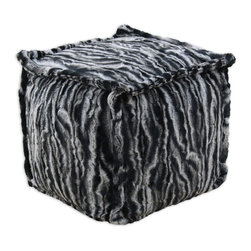"""Chooty - Chooty Marble Black Simply Soft Collection 17"""" Square Beads Hassock with 1"""" Flan - Insert EPS Styrofoam Beads, Fabric Content 100 Polyester, Color Black, White, Grey , Ottoman 1"""