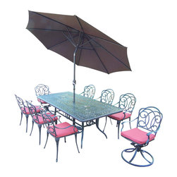 Oakland Living - 11-Pc Traditional Dining Table Set - Includes one rectangular dining table, six dining chairs and two swivel rocking chairs with cushions, 9 ft. tilt and crank umbrella and stand. Metal hardware. Fade, chip and crack resistant. Warranty: One year limited. Made from rust free aluminum. Aged hardened powder coat finish. Minimal assembly required. Table: 84 in. L x 42 in. W x 29.5 in. H (97 lbs.). Chair: 23.5 in. W x 19.5 in. D x 35.75 in. H (15 lbs.). Swivel rocker chair: 23.5 in. W x 22.5 in. D x 35.75 in. H (20 lbs.). Overall weight: 345 lbs.This eleven piece dining set is the perfect piece for any outdoor dinner setting. Just the right size for any backyard or patio. The Oakland Berkley Collection combines practical designs and modern style giving you a rich addition to any outdoor setting. The artistic pattern work is crisp and stylish. Each piece is hand cast and finished for the highest quality possible.