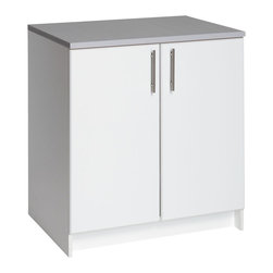 """Prepac - Prepac Elite White 32 Inch Base Cabinet with 2 Doors - The elite 32"""" base cabinet is the perfect addition to your laundry room, workshop or garage. The 1"""" thick grey melamine countertop provides a durable work surface that will last through all your projects. With one adjustable shelf, this cabinet will accommodate anything you need to store in it. Combine it with other pieces in the elite collection for a customized workspace."""