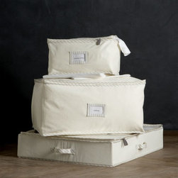 Twill Storage Bags With Ticking - Canvas is a great material to store away clothes and linens in. It lets the fabrics breathe and takes up minimal space inside a closet. These come with an attached label to help you remember what you've put in each one.