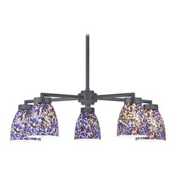 Design Classics Lighting - Black 5-Light Modern Chandelier with Blue Art Glass - 590-07 GL1009MB - Contemporary / modern matte black 5-light chandelier with modern bell glass shades. Includes one 6-inch and three 12-inch down rods that allow this chandelier to hang at a minimum height of 17-1/8-inches up to a maximum of 53-1/8-inches. Takes (5) 100-watt incandescent A19 bulb(s). Bulb(s) sold separately. UL listed. Dry location rated.