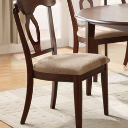 Coaster - Liam Side Chair, Set of 2 - Accommodate an array of dinner party sizes with this versatile oval dining table. The table comes with a 22 extension leaf to increase table space and to act as a space saver depending on the occasion. Option of a drop leaf makes this table one of a kind. Matching side chair has an open oval motif back with curving top splat creating an elegant but inviting style that you will love. Available in a cherry finish, this group is sure to blend with your decor for an inviting look the entire family will enjoy.