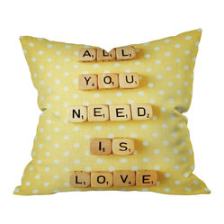 "DENY Designs - Happee Monkee All You Need Is Love 1 Throw Pillow, 18x18x5 - Get love, style and a double word score. The message, ""All You Need Is Love,"" pops realistically against a backdrop of cheerful polka dots. Sixteen letters about love equal love itself. Custom printed on woven polyester."