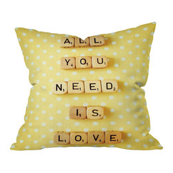 """DENY Designs - Happee Monkee All You Need Is Love 1 Throw Pillow, 18x18x5 - Get love, style and a double word score. The message, """"All You Need Is Love,"""" pops realistically against a backdrop of cheerful polka dots. Sixteen letters about love equal love itself. Custom printed on woven polyester."""