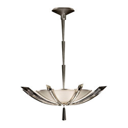 Fine Art Lamps - Vol de Cristal Pendant, 799040ST - Fred and Ginger would have felt right at home under this sumptuous art deco–inspired pendant. Tapered wings of beveled crystal support a frosted white bowl trimmed in platinized silver leaf. The ziggurat stem is adjustable, allowing you to set this fixture close to the ceiling or fully extended.