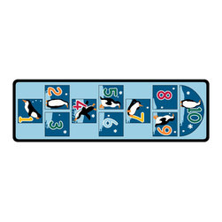 """Learning Carpets - Learning Carpets Indoor Outdoor Playmat Penguin Hopscotch - LC197 26"""" x 79"""" - Hopscotch with an Arctic twist. Skip from pole to pole while viewing the antics of these fun-loving birds. Bean Bags NOT Included. Ages 3 Years and Up. Unlimited Warranty. Soil And Stain Resistant Washable Carpet. Durable Latex Gel Skid-Proof Backing. 100% Nylon Carpet. Meets All ASTM F963 Safety Standards. Indoor/Outdoor Usage. Able To Withstand Rugged Wear. Highest Inflammability Rating In The Industry. Award-Winning."""