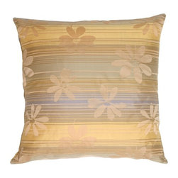 Pillow Decor - Pillow Decor - Beige Floral on Stripes Square Decorative Pillow - Soft, muted neutral stripes overlapped by large beige flowers. Warm beiges, buttery yellows, soft pale golds, soft blue greens and a muted soft smoky Wedgwood blue stripes make up the contemporary pattern. The yellows and golds are a perfect complement to the pale blonde woods in your home.