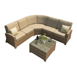 Forever Patio - Cypress 4 Piece Modern Patio Sectional Set, Spectrum Mushroom Cushions - The Forever Patio Cypress 4 Piece Rattan Outdoor Sectional Set with Beige Sunbrella cushions (SKU FP-CYP-4SEC-HR-SM) will enhance any patio with its sweeping armrests and blend of traditional and modern influences. The set features Heather resin wicker with a half round design that creates a complex and luxurious look. Every strand of this outdoor wicker is made from High-Density Polyethylene (HDPE) and is infused with its natural color and UV-inhibitors that prevent damage ordinarily caused by sunlight. The set is supported by thick-gauged, powder-coated aluminum frames that make it extremely durable and resistant to corrosion. Also included are fade- and mildew-resistant Sunbrella cushions. These plush, overstuffed cushions will make this patio sofa sectional set your new favorite spot to unwind.