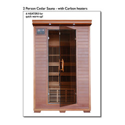 Blue Wave - Blue Wave 2 Person Cedar Carbon Sauna - Heatwave premium cedar saunas; start reaping the benefits of an at-home sauna today; look better, feel better, live better! Canadian red cedar is renowned for its beautiful color variation, refreshing aroma and its resistance to rot and mildew. Cedar has been used in saunas for hundreds of years because of its unique properties. In addition to its aromatic qualities, it is durable, non-toxic and an excellent heat insulator. Cedar also has microbial properties that are anti-fungal as well as oils that aid in detoxification. Red cedar has always been the wood of choice for top of the line saunas. Premium heatwave saunas are all manufactured from the finest stands of Canadian red cedar. This makes our saunas aromatic well insulated, resistant to moisture and beautiful. Heatwave saunas; are the safe, effective and affordable way to relieve stress and improve health, right in the comfort of your own home. Our saunas utilize the latest in infrared heat technology, are super easy to assemble and fit in virtually any room in your home. With their solid Canadian red cedar and tongue and groove construction, these saunas are built to last, providing you with years of health benefits and stress relief. Premium heatwave cedar saunas; come with carbon heaters and feature interior reading lights and built in sound systems to further enhance your sauna experience. All premium cedar models come equipped with back rests, towel hooks, magazine holder, color therapy light, and oxygen ionizers. Heatwave saunas; are backed by cetl certification. 5-year warranty on wood, structure, heating elements and electrical; 1-year warranty on the radio. Start relieving stress and enjoying the many healthy benefits of a heatwave premium cedar sauna.