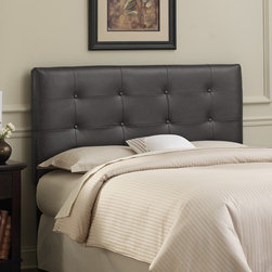 "Skyline Furniture - Tufted Leather Headboard - This beautifully hand-crafted headboard adds style to any bedroom. Thick durable leather will last for years and create a sophisticated landscape. With its pine wood frame and thick luxurious foam padding bedtime reading may last a little longer. Easy assembly is required. Features: -Metal legs.-Pine wood frame.-Plush Faux Leather.-Foam constructed out of polyurethane foam cotton.-Please Note: Number of buttons on headboard may vary according to size.-Cleaning Codes Premier & Bokhara (WS):To prevent overall soil, frequent vacuuming or light brushing to remove dust and grime is recommended. Spot clean, with a mild solvent, an upholstery shampoo, or the foam from a mild detergent. When using a solvent or dry cleaning product, follow instructions carefully and clean only in a well ventilated room. Avoid any product which is highly toxic. With either method, pretest a small area before proceeding. Use a professional furniture cleaning service when an overall soiled condition has been reached..-Gloss Finish: No.-Hardware Material: Steel.-Tufted: Yes.-Wall Mounted: Yes.-Reversible: No.-Media Outlet Hole: No.-Built In Outlets: No.-Hardware Finish: Black metal.-Finished Back: No.-Distressed: No.-Hidden Storage: No.-Freestanding: No.-Frame Included: No.-Drill Holes for Frame: Yes.-Frame Compatibility: Any standard bed frame.-Commercial Use: No.-Recycled Content: No.-Country of Manufacture: United States.Specifications: -EPP Compliant: No.-CPSIA or CPSC Compliant: Yes.-CARB Compliant: Yes.-JPMA Certified: No.-ASTM Certified: No.-ISTA 3A Certified: Yes.-PEFC Certified: No.-General Conformity Certificate: Yes.-Green Guard Certified: No.Dimensions: -Overall Height - Top to Bottom (Size: California King, Full, King, Queen, Twin): 54"".-Overall Width - Side to Side (Size: King): 78"".-Overall Product Weight (Size: California King): 40 lbs.-Overall Product Weight (Size: Full): 31 lbs.-Overall Product Weight (Size: King): 45 lbs.-Overall Product Weight (Size: Queen): 33 lbs.-Overall Product Weight (Size: Twin): 24 lbs.-Leg Height: 6"".-Bottom of Headboard to Floor: 24"".Assembly: -Tools Needed: Allen wrench, wrench.-Additional Parts Required: No.Warranty: -Product Warranty: 1 Year limited (Excludes fabric)."