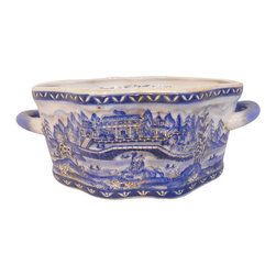 "Oriental Furnishings - 14"" Hand Painted Oriental Porcelain Foot Bath - Our Blue and White landscape Bowl is the perfect plant container or use as decorative bowl. This hand painted cache po is offered in a Cantonese city landscape on a unusually shaped Chinese porcelain and has two handles, with an antique patina and floral interior design.   These were and are used as foot baths, or for display.  These are high quality porcelain, fire glazed inside and outside for added strength.  Add an elegant design statement with one of our vase stands available in a wide assortment of sizes (including pedestal), styles and wood types.  Size 7 x  14 x 4.5"" high.  Inside opening-6.25 x 9.25 x 4.25 H"