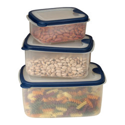Cookpro - 6-piece Plastic Container Set with Rectangular Lids - Go ahead. You can vent about your current plastic containers that buckle every time you put them in the microwave. Here's a great new set that'll help you let off some steam. This six piece, nesting storage set is made of food grade plastic and comes with venting lids to keep your smiles high and your pressure low.