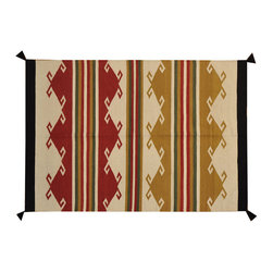 100% Wool Hand Woven Navajo Design Rug 4' x 6' Reversible Flat Weave Rug SH16770 - Soumaks & Kilims are prominent Flat Woven Rugs.  Flat Woven Rugs are made by weaving wool onto a foundation of cotton warps on the loom.  The unique trait about these thin rugs is that they're reversible.  Pillows and Blankets can be made from Soumas & Kilims.