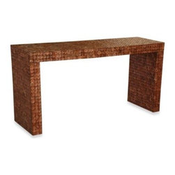 Jeffan - Jeffan International Cassy Console Table - This beautiful console table features square coconut accents. Great conversation piece with amazing details and texture.