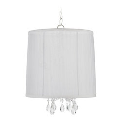 Sterling Industries - Sterling Industries 1 Lite Alicia Transitional Pendant Light X-747-59 - Perfect for those who desire a clean, classic approach to their lighting, this Sterling Industries transitional pendant lite features a single light and a clean design. From the Alicia Collection, the white shade has been paired with crystal drops and beads that dance in the light.