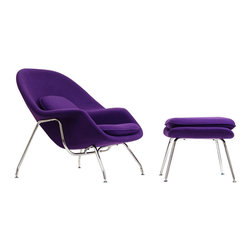 Nest Lounge and Ottoman Set in Purple - Inspired by mid-century modern design, this hybrid lounge�ۡ����reception chair is a great addition to any living room or bedroom. Comfortable, classy, modern, and in bold and bright colors, the Nest Chair and Ottoman set are made of molded fiberglass with foam padding, with legs of stainless steel complete with foot caps to prevent scratching on floors. Experience the beauty of relaxation in this timeless classic duo.