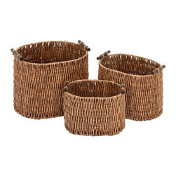 Woodland Imports - Woven Rattan Basket Natural Brown 3 Piece Set Home Storage Decor 52619 - Woven rattan basket in natural brown with handles 3 piece set unique home organization storage accent decor