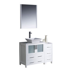 """Fresca - 42"""" White Vanity w/ Side Cabinet & Vessel Sink Soana Brushed Nickel Faucet - Fresca is pleased to usher in a new age of customization with the introduction of its Torino line.  The frosted glass panels of the doors balance out the sleek and modern lines of Torino, making it fit perfectly in eithertown or country decor."""