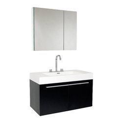 Fresca - Vista Modern Bathroom Vanity w Medicine Cabinet - Widespread Faucet Mount (8 in. ). Soft Closing Doors. P-trap, Faucet, Pop-Up Drain and Installation Hardware Included. With overflow. Sink Color: White. Finish: Black. Sink Dimensions: 21.75 in. x12.25 in. x5 in. . Medicine Cabinet: 29.5 in. W x 26 in. H x 5 in. D. Materials: MDF with Acrylic Countertop/Sink with Overflow. Vanity: 35.38 in. W x 18.75 in. D x 21.75 in. HA spacious one basin vanity is a chic addition to any decor. Ideal for anyone looking for a winning combination of style, sleek design, and size that brings it all together to present something dashingly urban. A simple, sleekly chic design that compliments any interior that demands to be updated to a strong streamlined space. A beautiful widespread chrome faucet is also included. Optional side cabinets are available.