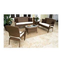 Hospitality Rattan - Grenada 5 PC Set Deep Seating Group in Viro F - Fabric: Manchester SiennaFive-piece patio furniture set creates the perfect outdoor conversation area. There's a sofa, loveseat, chair, coffee table and end table. Both tables have tempered glass tops. All pieces have aluminum frames to resist rust and are covered in all weather wicker. This product is warranted for outdoor use. Set includes Sofa, Lounge Chair, Coffee Table, End table, and Loveseat. Made of Aluminum Frame w/ All Weather Viro Fiber Wicker. Outdoor wicker deep seating group set. Viro Fiber antique finish. Includes tempered hammered glass. Weather and UV resistant. Sturdy aluminum legs for extra support. Fully assembled five piece set. Sofa: 73 in. W x 28 in. D x 38 in. H (40 lbs.). Lounge Chair: 31 in. W x 28 in. D x 38 in. H (13 lbs.). Coffee Table: 36 in. W x 36 in. D x 22 in. H (14 lbs.). End table: 23 in. W x 23 in. D x 19 in. H (11 lbs.). Loveseat: 52 in. W x 28 in. D x 38 in. H (22 lbs.)The Grenada contemporary patio set has a fully anodized aluminum frame and woven Viro fiber, which gives this collection a unique textured surface. The Grenada Collection does not require cushions. The collection also features frosted tempered glass on all its tables, along with the ability to accommodate an umbrella with the patio dining set. Cushions are optional and are not included.