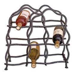 Mathews & Company - South Fork 8-Bottle Wine Rack - This exquisitely crafted wine rack is both functional and aesthetically pleasing. Holding a total of 8 wine bottles, the rustic quality of the hand-made, twisted wrought iron takes up no visual space with its open design. The rack comes in four colored finishes to give you the opportunity to match your wine storage to your home decor. For years to come, your guests will marvel at your sense of style in choosing this gorgeous piece.