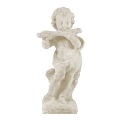 Amedeo Design, LLC - USA - Cherub Flutist Statue - Our Flute Cherub is sweet, innocent and beguiling. Greek in origin, our cherubs are well made and crafted to ensure every detail is defined. Its textured finish gives it an authentic resemblance to weathered stone. Its a great piece for any outdoor display and when built with our lightweight and weatherproof ResinStone, all our Cherubs will delight you for many years to come. Made in USA.