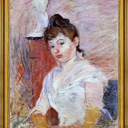 "Berthe Morisot-16""x20"" Framed Canvas - 16"" x 20"" Berthe Morisot Young Woman in White framed premium canvas print reproduced to meet museum quality standards. Our museum quality canvas prints are produced using high-precision print technology for a more accurate reproduction printed on high quality canvas with fade-resistant, archival inks. Our progressive business model allows us to offer works of art to you at the best wholesale pricing, significantly less than art gallery prices, affordable to all. This artwork is hand stretched onto wooden stretcher bars, then mounted into our 3"" wide gold finish frame with black panel by one of our expert framers. Our framed canvas print comes with hardware, ready to hang on your wall.  We present a comprehensive collection of exceptional canvas art reproductions by Berthe Morisot."