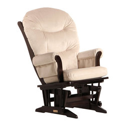 Dutailier - Dutailier Sleigh Glider in Espresso and Light Beige Fabric - Dutailier - Gliders & Rockers - D0061A693093 - About This Product: Ideal for nursing or simply relaxing, this Sleigh glider offers an exceptionally smooth and extra long glide motion with thick cushions and padded arms that will add class and elegance to your decor. There are no sharp edges, the finish is toxic free and this product meets all safety standards.