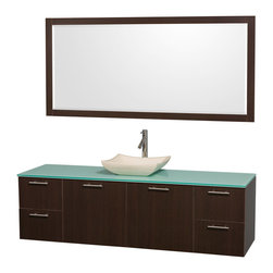 Wyndham Collection - Amare Bathroom Vanity in Espresso, Green Glass Top, Ivory Marble Sink - Modern clean lines and a truly elegant design aesthetic meet affordability in the Wyndham Collection Amare Vanity. Available with green glass , acrylic resin or pure white man-made stone counters, and featuring soft close door hinges and drawer glides, you'll never hear a noisy door again! Meticulously finished with brushed Chrome hardware, the attention to detail on this elegant contemporary vanity is unrivalled.