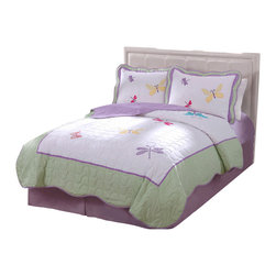 Pem America - Dragonfly Butterfly Full / Queen Quilt with 2 Shams - Butterflies and dragonflies dance across the face of this quilt with a light green frame drop.  The face material is a stark white with applique butterflies in purple, yellow and hot pink.  The frame is a lime green print with a scalloped edge. Hand crafted set includes 1 full/queen quilt (86x86 inches) and 2 standard shams (20x26 inches). Face cloth is prewashed 100% natural cotton.  Fill is 94% cotton / 6% other fibers. Hand crafted with embroidery. Machine Washable.