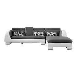 VIG Furniture - 816 Mini Two-Tone White & Grey Top Grain Leather Sectional Sofa - The 816 Mini  sectional sofa has a stylish modern design that works well with any decor. This sectional sofa comes upholstered in a two-tone white and grey top grain leather in the front where your body touches. Skillfully chosen match material is used on the back and sides where contact is minimal. High density foam is placed within the cushions for added comfort. Attached to the bottom of the sectional are chromed steel legs that add to the overall look.