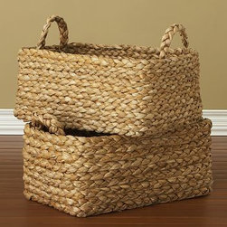 "Bailey Basket - These woven baskets stylishly store magazines, DVDs, home office supplies and more.24"" wide x 15"" deep x 15"" highSized for use with most Pottery Barn furniture.Watch a video about {{link path='/stylehouse/videos/videos/eu_v3_rel.html?cm_sp=Video_PIP-_-EASY_UPDATES-_-NICO_BASKETS' class='popup' width='950' height='300'}}decorating with baskets{{/link}}.Catalog / Internet Only."