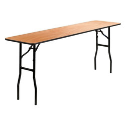 "Flash Furniture - 18"" x 72"" Rectangular Wood Folding Training / Seminar Table - This wood folding table is very useful since it can be instantly stored and is easy to carry at the same time. This durable table was built for constant use in hotels, banquet rooms, training rooms and seminar settings. Not only is this table durable enough for the everyday rigors of commercial use this table can be used in the home when it comes to setting up your own personal party plans."