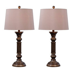 """Kenroy Home - Traditional Kenroy Home Reese Aged Golden Bronze Table Lamp Set of 2 - Kenroy Home table lamp set. Set of 2. Aged golden bronze finish. Cream tapered drum shade. On/off socket switch. Maximum 100 watt or equivalent bulb (not included). Shade is 13"""" across the top 15"""" across the bottom 10"""" on the slant. 30"""" high.          Kenroy Home table lamp set.  Set of 2.  Aged golden bronze finish.  Cream tapered drum shade.  On/off socket switch.  Maximum 100 watt or equivalent bulb (not included).  Shade is 13"""" across the top 15"""" across the bottom 10"""" on the slant.  30"""" high."""